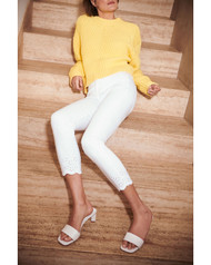 JEN7 by 7 For All Mankind White Eyelet Ankle Skinny Jeans