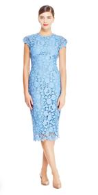 Lela Rose Floral Guipure Lace Sheath Dress in Sky Blue
