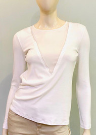 Fabiana Filippi Long Sleeve Top with Insert in White