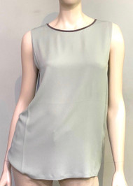 Fabiana Filippi Sleeveless Embellished Neck Top in Sage
