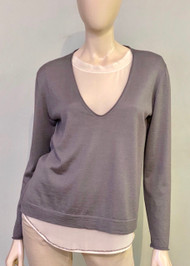 Fabiana Filippi Cashmere Top with Silk Insert in Grey