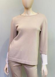 Fabiana Filippi Layered Sleeve Top in Brown/White