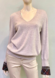 Fabiana Filippi Sweater with Plaid Cuffed Sleeve Embellishments