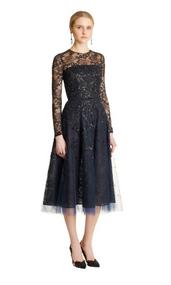 Oscar de la Renta Sequin & Bead Embroidered Tulle Illusion-Neck Dress