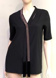Fabiana Filippi Black Embellished Tie Top