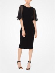 Michael Kors Chiffon Sleeve Wool Dress in Black