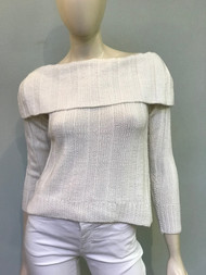 Hania Ice White Fold Over Neckline Sweater