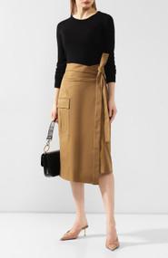Oscar de la Renta Camel Wrap Tie Skirt