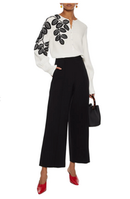 Oscar de la Renta Leaf Embroidered Silk Blouse