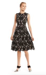 Lela Rose Floral Guipure Seamed Lace Dress