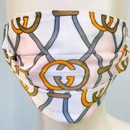 Face Mask - White/Orange/Grey