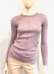 Fabiana Filippi Embellished Jewel Neck Ribbed Top in Lavender