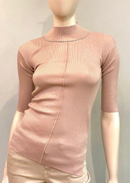 Fabiana Filippi Embellished Mock Turtleneck Ribbed Top in Blush