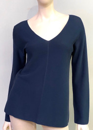 Fabiana Filippi V-Neck Long Sleeve Top in Navy