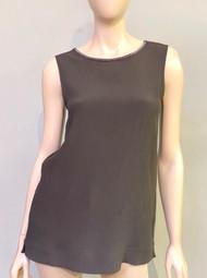Fabiana Filippi Sleeveless Embellished Neck Top in Dark Grey