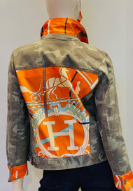 Designer Embellished Denim Jacket - Camo/Orange