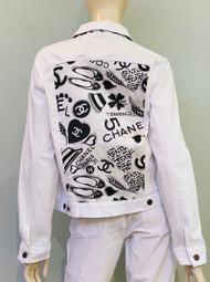 Designer Embellished Denim Jacket - White/Black