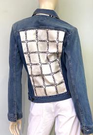 Designer Embellished Denim Jacket - Cream/Black