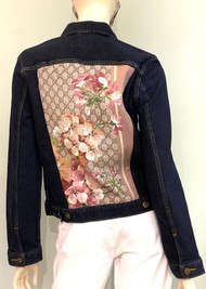 Designer Embellished Denim Jacket - Dark Rinse Floral