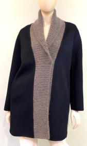 Fabiana Filippi Wool Coat with Shawl Knit Collar