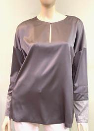 Fabiana Filippi Silk and Cotton Long Sleeve Top in Grey
