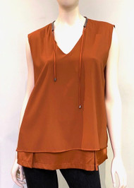Fabiana Filippi Silk Tiered Sleeveless Top in Orange