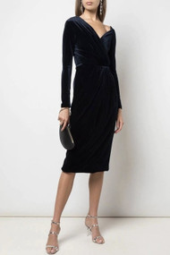 Cushnie Navy Velvet Pencil Dress