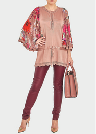 Roberto Cavalli Cappuccino Floral Chiffon Sleeve Blouse
