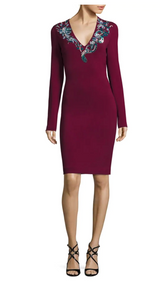 Roberto Cavalli Bordeaux V-Neck Embellished Dress