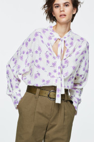 Dorothee Schumacher Silk Radiant Leaves Blouse in Pink/Cream