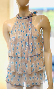 Dorothee Schumacher Sleeveless Tiered Leaves Blouse in Blue/Grey