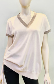 Fabiana Filippi Cotton Sweater with Contrasting Trim in White