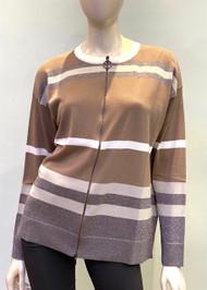 Fabiana Filippi Striped Cotton Zipped Sweater