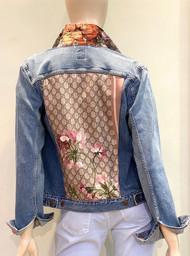 Designer Embellished Denim Jacket - Purple/Mauve/Denim
