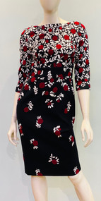 Lela Rose Floral ¾ Length Sleeve Sheath Dress