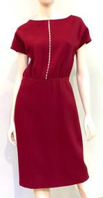 Lela Rose Pearl Trim Wool Dress