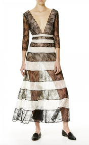 Carolina Herrera Striped Chantilly Lace Dress