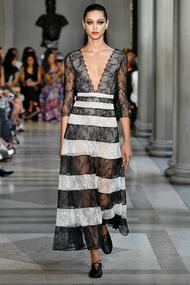 Carolina Herrera Striped Chantilly Lace Dress