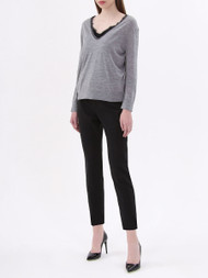 Dorothee Schumacher V-Neck Sweater with Lace Trim