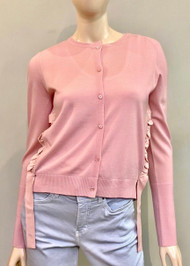 Dorothee Schumacher Cardigan with Ruffle Trim in True Rose