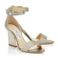 Jimmy Choo Edina Champagne Glitter Wedge