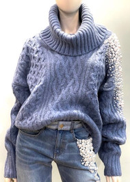 Hellessy Pearl Turtleneck Knit Sweater in Blue Jean