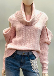 Hellessy Eniko Cowl Neck Sweater in Blush