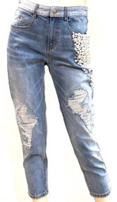 Hellessy Yang Distressed Jeans with Pearl Embroidery in Medium Wash