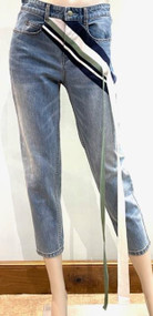 Hellessy Onokun Jeans with Ribbon in Medium Wash/Navy