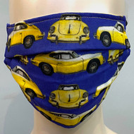 Car Printed Face Mask - Blue/Yellow