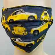 Car Printed Face Mask - Yellow/Multi