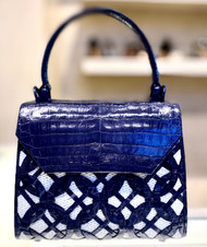 Nancy Gonzalez Mini Woven Lily Bag in Navy/White