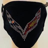 Rhinestone Embellished Mask - Corvette Emblem