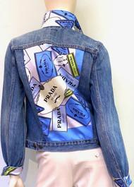 Designer Embellished Denim Jacket - Blue/Denim